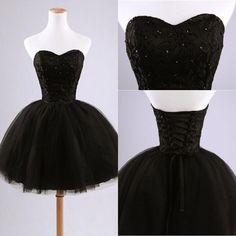 2015 Little Black Prom Dress, Short Black Ball Gown Sweetheart Prom Dresses,Black Prom Dress,Homecoming Dresses Sexy Cocktail Dresses,Mini Cocktail Dresses
