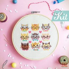 Funny Cross Stitch KIT DIY cat gift - I Love Catsss -Happy Cat Love Cheerful kitten Animal xstitch easy sweet diy gift