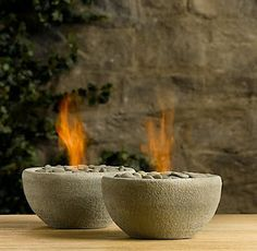 so cool...or hot. DIY mini firepits (aka Restoration Hardware Hack). Tutorial: http://b3hd.blogspot.com/2011/10/project-1-rock-bowl-flame-31-diy.html