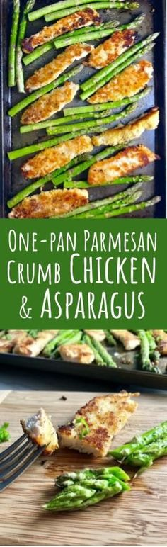 This One-Pan Parmesan Crumb Chicken and Asparagus is crispy, healthy, filling, easy, and delicious.  The chicken is simply breaded with a mixture of parmesan cheese and breadcrumbs.  The Asparagus is lightly seasoned with extra virgin olive oil, garlic, salt, and pepper.  #chicken #onepan #easydinner #dinner #asparagus