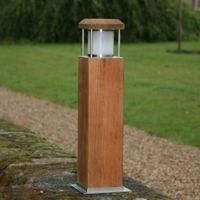 cirrus 240 volt square teak bollard light - Bollard Lights