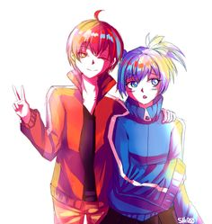 Karma & Nagisa | Ansatsu Kyoushitsu x Mekaku City Actors. This makes me SO happy, Mekakucity Actors is my most favorite anime ever ;_;