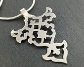 Sterling silver Persian floral pendant arabesque necklace