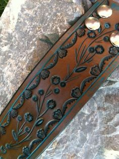 Turquoise  and Brown Hand Tooled Leather Wristband Cuff by dgierat, $22.00