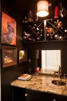 Home of Alex and Courtney Toledo - this is actually a closet that the couple turned into a bar area