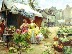 louis+de+schryver | Woman Buying Flowers at a Market by Louis Marie de Schryver - 10 x 14 ...