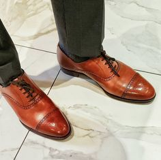 Malton, a semi brogue oxford shoe with straight cap and light punching detail. Made from the finest calf leather and single leather soles for the Men's Main Collection.
