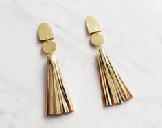 Handmade gold leather long tassel statement earrings