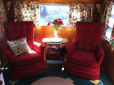 Glamping Trailers Inside | Inside trailer, dinette area~ | Glamping - Trailer Interiors