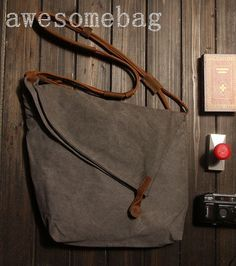 "15""Gray Genuine Cow leather bag canvas cross body  bag / leather  Messenger bag…"