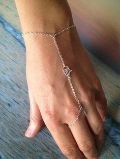 Sterling Silver Hamsa Slave Bracelet by TheArtsyNomad on Etsy