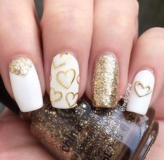 27 Pretty Nail Art Designs for Valentine's Day - 101 NailDesign Heart Nail Designs, Gold Nail Designs, Pretty Nail Designs, Pretty Nail Art, Nails Design, Pink Nails, Glitter Nails, White Nails With Gold, Red Gold