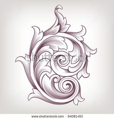 scroll patterns free - Google Search Scroll Pattern, Acanthus, Scroll Design, Baroque, Filigree, Tribal Tattoos, Retro Fashion, Stock Photos, Floral