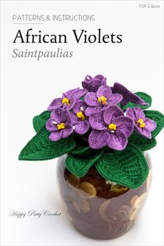 Crochet African Violets Pattern by Happy Patty Crochet