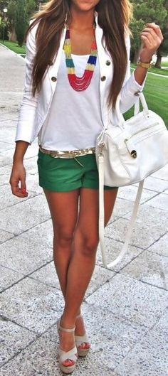 colorful shorts, white top, cute necklace