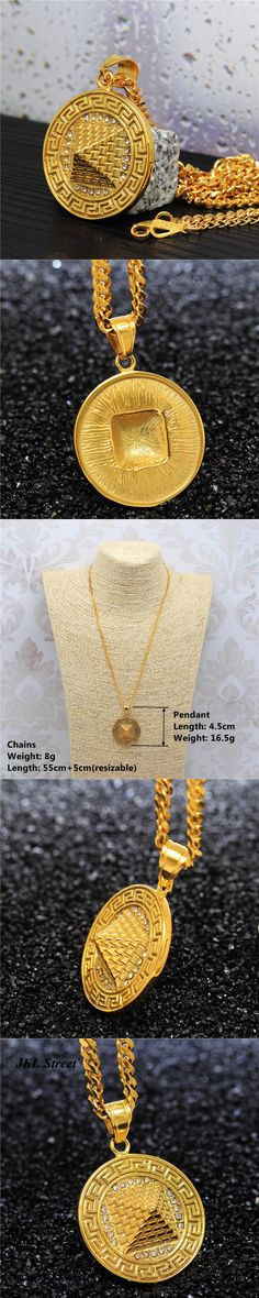 3D Golden Egyptian Pyramid Necklace Pendant Stainless Steel Iced Out Kemet King Pharaoh Women/Men HipHop Jewelry Gift 60cm Chain