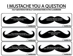 Junior Social Butterfly badge - I Mustache You A Question... Conversation Starters