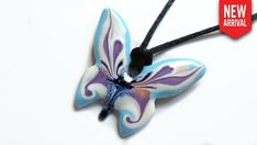 Papillon - Blue & Lavender Butterfly Necklace, Enamel Jewelry, Unique Colors, Favorite Color, Washer Necklace, Lavender, Artisan, Christmas Ornaments, Crystals