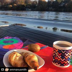 "Shana Danon - Artist on Instagram: ""🌿SEINE-TIMENT How gorgeous is this capture by @emmanusmith enjoying her breakfast by the beautiful Seine! ☕️Our 'Orbit' tea-towel + 'When…"""