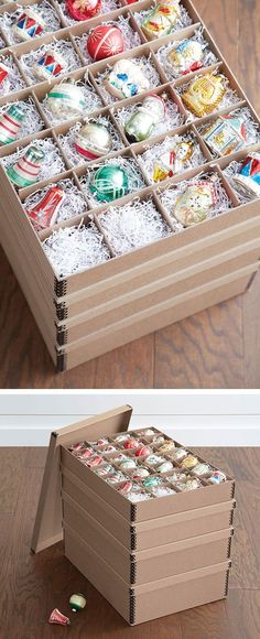 Gentil Our Wing Lid Ornament Storage Box Features Three Levels Of Storage And  Holds Up To 75 Ornaments. Our Square Storage Box And Ornament Storage Trays  U2026