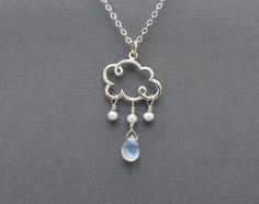 cloud necklace cloud charm necklace blue by SharonClancyDesigns. $38.00 USD, via Etsy.