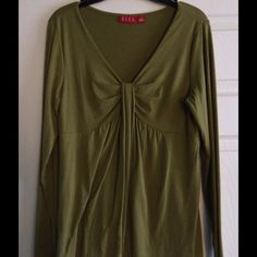 Flattering olive stretchy top with gathered neck. Feminine soft and stretchy top with gathering at neckline.  Size small, but will fit up to a large due to its loose construction and stretch.  Great condition. Elle Tops Blouses