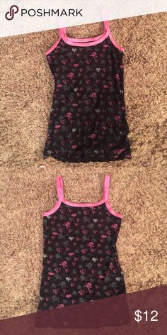 T top, pink & Black, size large, SKULLS & HEARTS, Cute for those super Hot Days,  or under something on cooler ones, size LARGE pink, black, grey, Foxy Girls Tops Tank Tops