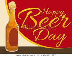 Delicious beer bottle in a bar counter with golden greeting, ready to be drunk in the celebration of Beer Day. Beer Day, Bar Counter, Hot Sauce Bottles, Beer Bottle, Celebration, Royalty Free Stock Photos, Bar Stand, Beer Bottles, Bar Height Table