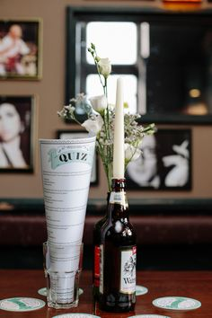 Wedding Beer Bottle Flowers http://www.suekwiatkowska.com/
