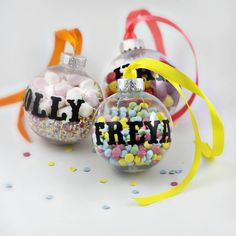These personalised baubles are a fun and playful alternative for your Christmas tree.Please note: sweeties are not included.The perfect gift for any child, you can personalise your bauble with their name and create a colourful wonderland inside. Make it a fun activity for all the family, filling them with sweeties, glitter, paper shapes or anything you want. They can easily be opened with adult supervision and will be sure to add that unique touch to your Christmas tree.Plastic clear…