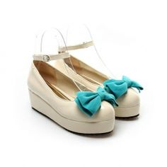 $17.98 Casual Fashionable Sweet Style Cute Candy Color Bowknot Embellished Buckle Platform Shoes For Women