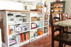 Ikea Hack Billy Bookshelves Kitchen Island Storage with butcher block and bead board-www.goldenboysandme.com