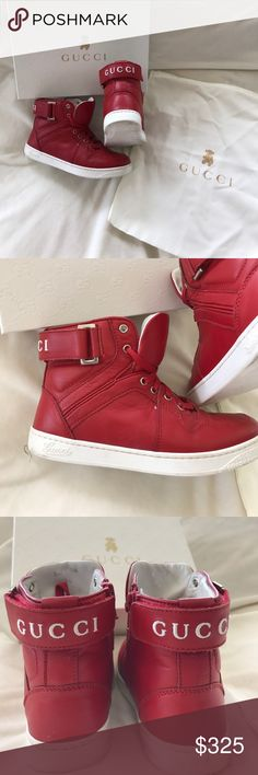 d13ea959f Gucci Boys Red high top leather sneakers size 30 These Red Gucci high top  sneakers are