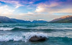 Lake Ohau, coast, waves, South Island, New Zealand 8k Wallpaper, Nature Wallpaper, Beautiful Wallpaper, Cityscape Photography, Sunset Photography, Costa, Tumblr Sky, Lake Tekapo, New Zealand South Island
