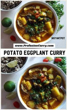 Potato Eggplant Curry with Quinoa. Made in InstantPot using pot in pot method. Soup Recipes, Vegetarian Recipes, Dinner Recipes, Healthy Recipes, Healthy Food, Healthy Soups, Spicy Recipes, Healthy Weight, Vegan Vegetarian