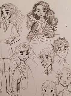 Some Harry Potter doodles from last year Harry Potter Sketch, Harry Potter Drawings, Harry Potter Fan Art, Art Drawings Sketches, Cartoon Drawings, Cute Drawings, Desenhos Harry Potter, Arte Sketchbook, Character Drawing