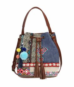 Desigual bags, purses, scarves and other accessories in Canada. Trolley Bags, Denim Crafts, Boho Bags, Patchwork Bags, Denim Bag, Handmade Bags, Handmade Leather, Vintage Leather, Fabric Bags