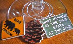 6 Colorful Northwoods Cabin Wine Charms Great by FortySevenGems, $12.00