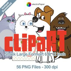 The Secret Life of Pets - Clipart - Stock Large Format 6 and 12 Inch. 56 png files for Cardmaking, Scrapbooking, Party Decorations and More by ElectroPaper on Etsy