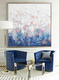 Hand painted contemporary art on canvas by Artist Mr. Biao from CZ Art Design. Blue, navy, pink, grey. @CelineZiangArt