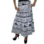 Mogul Women's Indian Long Wrap Around Skirts Black & White Beach Cover Up Dress Image 1 of 2