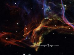 The Veil Nebula, left behind by the explosion of a massive star thousands of years ago, is one of the largest and most spectacular supernova remnants in the sky. This is only a small section of it.  Credit: NASA, ESA, and the Hubble Heritage (STScI/AURA)-ESA/Hubble Collaboration  Acknowledgment: J. Hester (Arizona State University)