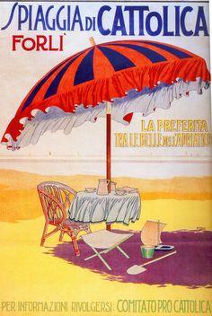 italianartsociety: By Costanza Beltrami Antonio Maria Nardi was. Vintage Italian Posters, Vintage Travel Posters, Poster Vintage, Vintage Postcards, Vintage Advertisements, Vintage Ads, Vintage Designs, Vintage Luggage, Illustrations Vintage