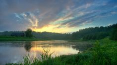landscapes sunset nature lake water green house sky trees forest (to get full size image visit the site) Nature Hd, Nature Photos, Resident Evil, August Wallpaper, Panoramic Pictures, Scenic Wallpaper, Hd Nature Wallpapers, Lake Water, Country Landscaping