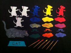 Mouse Paint - Flannel Felt Board Story via Etsy - beautifully done! Flannel Board Stories, Felt Board Stories, Felt Stories, Flannel Boards, Stories For Kids, Toddler Activities, Activities For Kids, Preschool Ideas, Felt Board Patterns