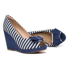 Sapato Peep Toe Anabela Alto | Piccadilly