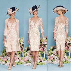 Fashion Ronald Joyce 2016 Knee Length Lace Mother Of The Bride Dresses With 3/4 Long Sleeves Mother's Suit Formal Cocktail Gowns Cheap