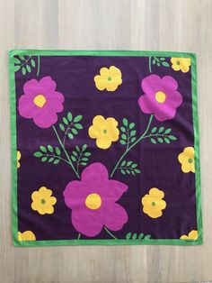 Beautiful Marimekko Vintage Scarf at #etsy shop: Floral MARIMEKKO Vintage Scarf, Purple Square Cotton Scarf, Scandinavian design 60 cm 23.5 in, Finnish Vintage http://etsy.me/2toRcvy  #accessories #scarf #finnishvintage#vintagescarf #scandinaviandesign