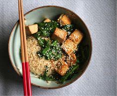 Marinated Tofu with Asian Greens & Rice