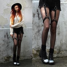 Get this look: http://lb.nu/look/8091534  More looks by Liza LaBoheme: http://lb.nu/scionescio  Items in this look:  , Harness Shorts, Vagabond Iridescent Platforms   #edgy #grunge #street #sweater #jumper #oversize #knit #warm #winter